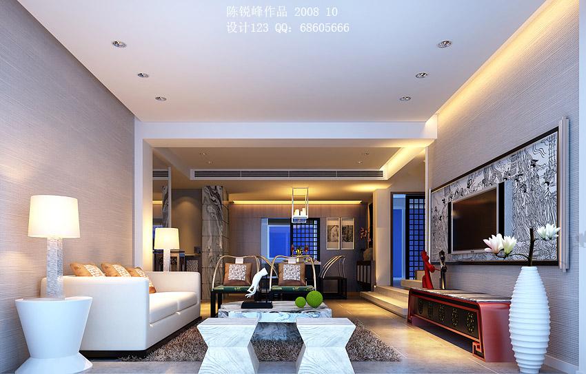 墙效果图 中式古典 330平米别墅装修设计