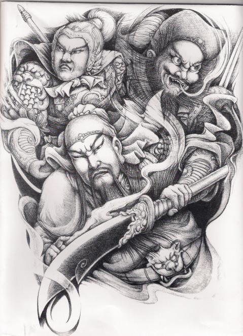 关公花臂纹身手稿 象神花臂纹身手稿 佛小臂花臂纹身手稿图片