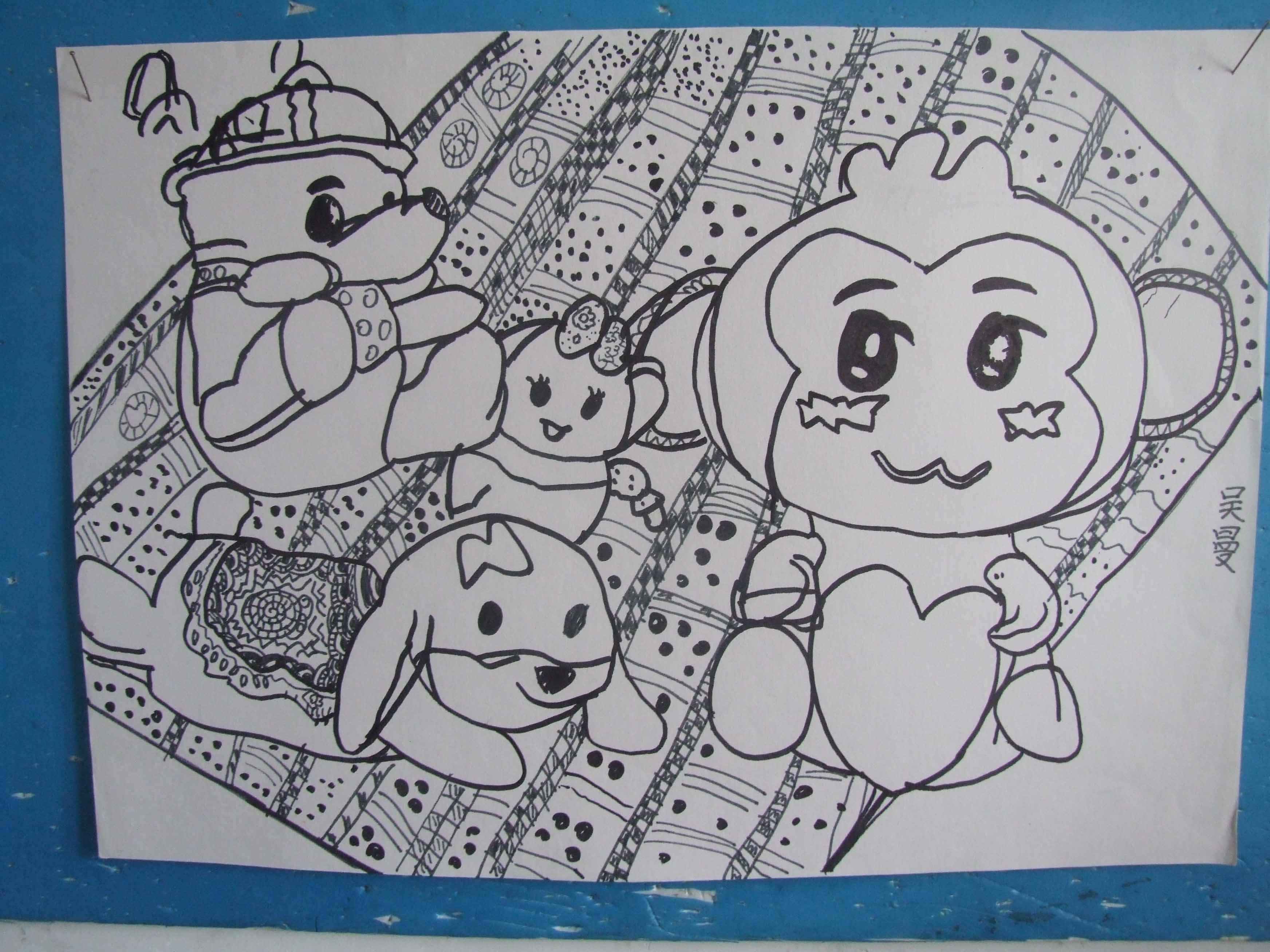 儿童画 简笔画 手绘 线稿 320_426 竖版 竖屏