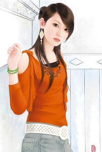 非常漂亮的现代美女手绘图