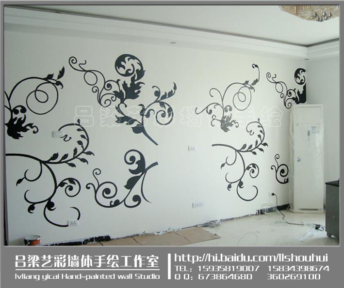 墙绘油画风景矢量图