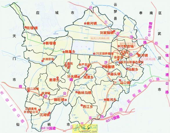 汉川市乡镇分布地图简图