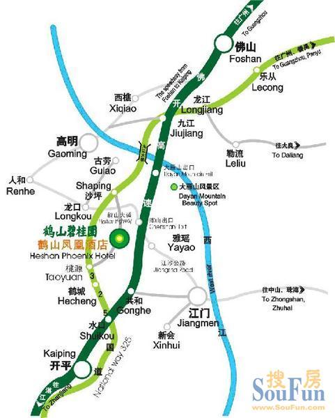 本地通首页 基本概况 > 鹤山交通图   鹤山交通规划图 距江门25公里