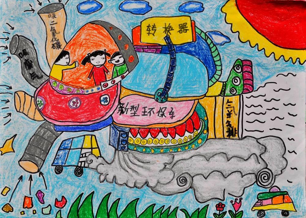 二年级小学生环保科幻画分享展示