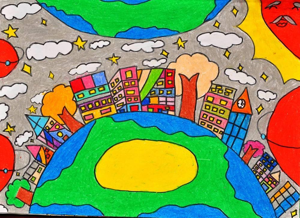 科幻绘画作品蜡笔画-小学生科幻绘画