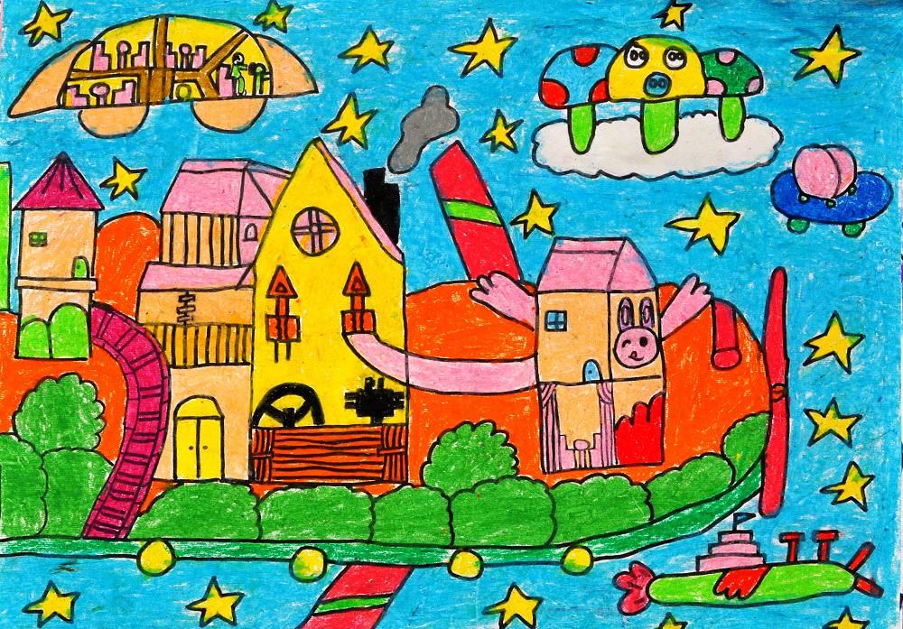 五年级美术绘画作品; 五年级儿童画画图片; 学生科幻绘画作品(图)图片
