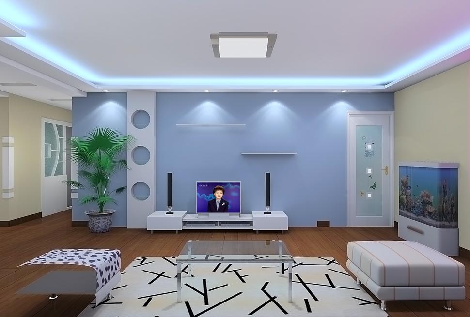 蓝色电视墙装修效果图