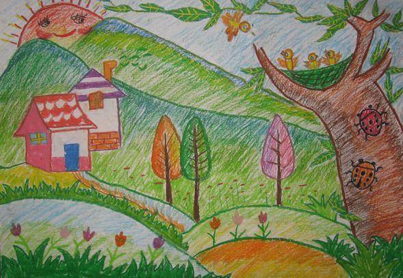 春天的柳树简笔画图画图片