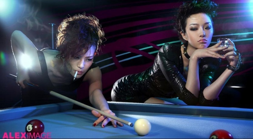 打桌球唯美女生头像