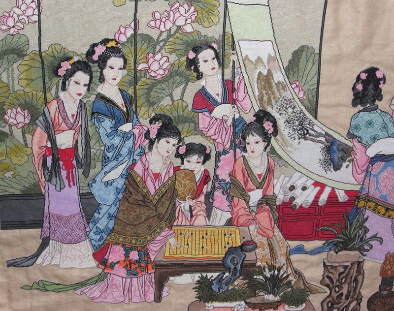 首幅大作《琴棋书画》十八美女纯手工ks十字绣历时2图片