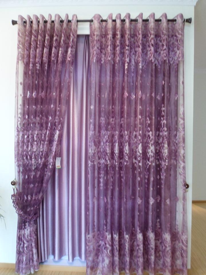 欧式淡紫色窗帘贴图