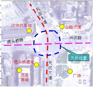 汉中市中心广场人行天桥设计方案 示意图 效果图