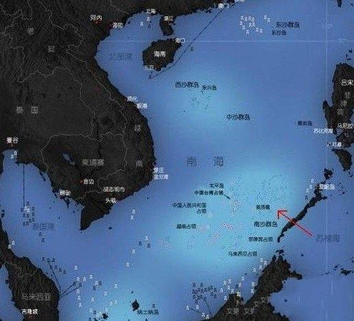 &nbsp&nbsp&nbsp&nbsp&nbsp 美济礁地理位置图(红色箭头指向)