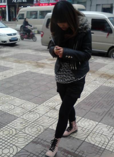 原创阎良冬季街头美女时尚靓照