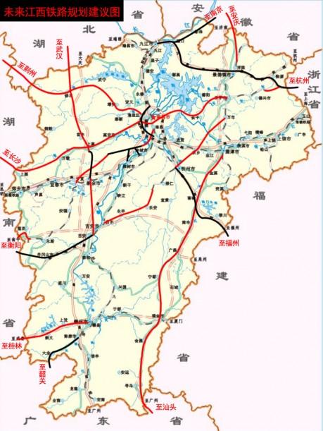 江西省铁路规划调整_未来江西铁路规划朝三个交通落后地区发展为江西交通图片