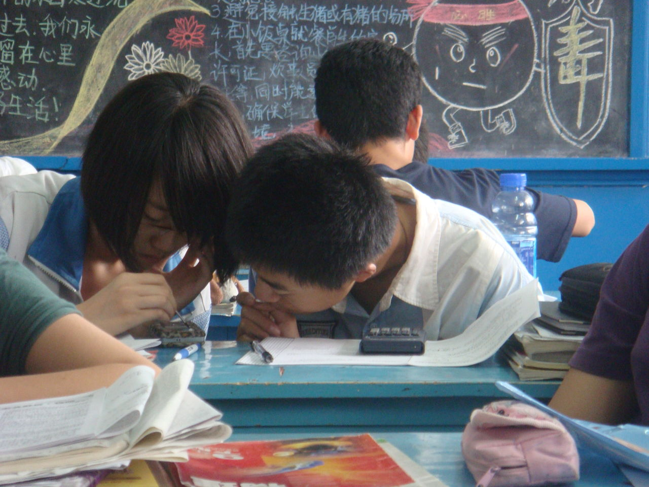 校园同桌简笔画