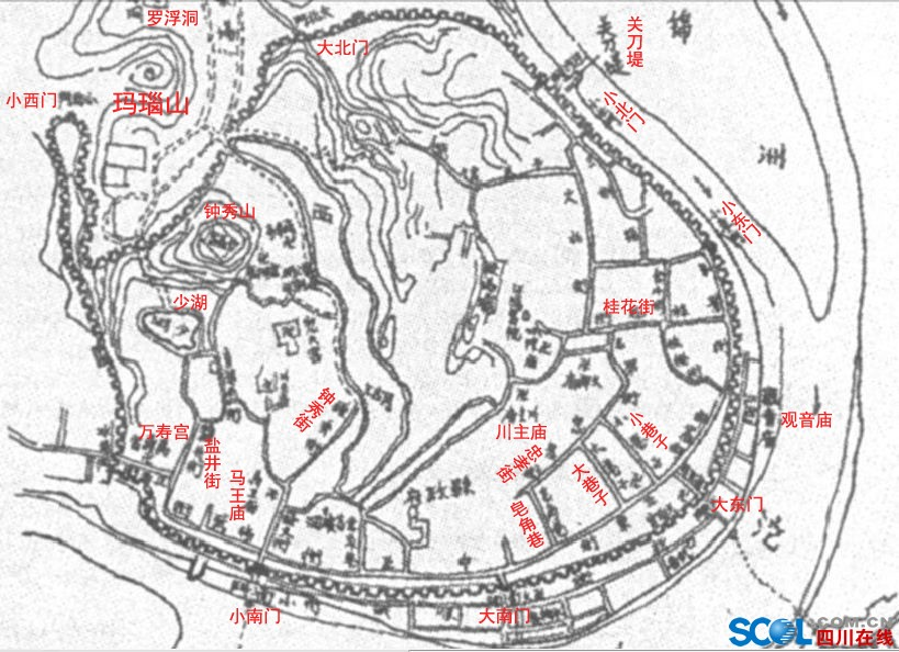 千年古县富顺老地图一张