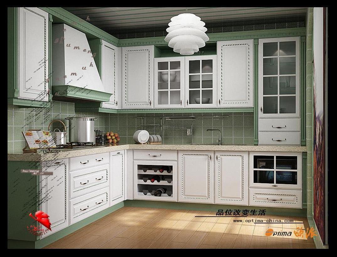 公寓式厨房; 巴黎之春 欧式装修效果图 :; 装修效果图展示