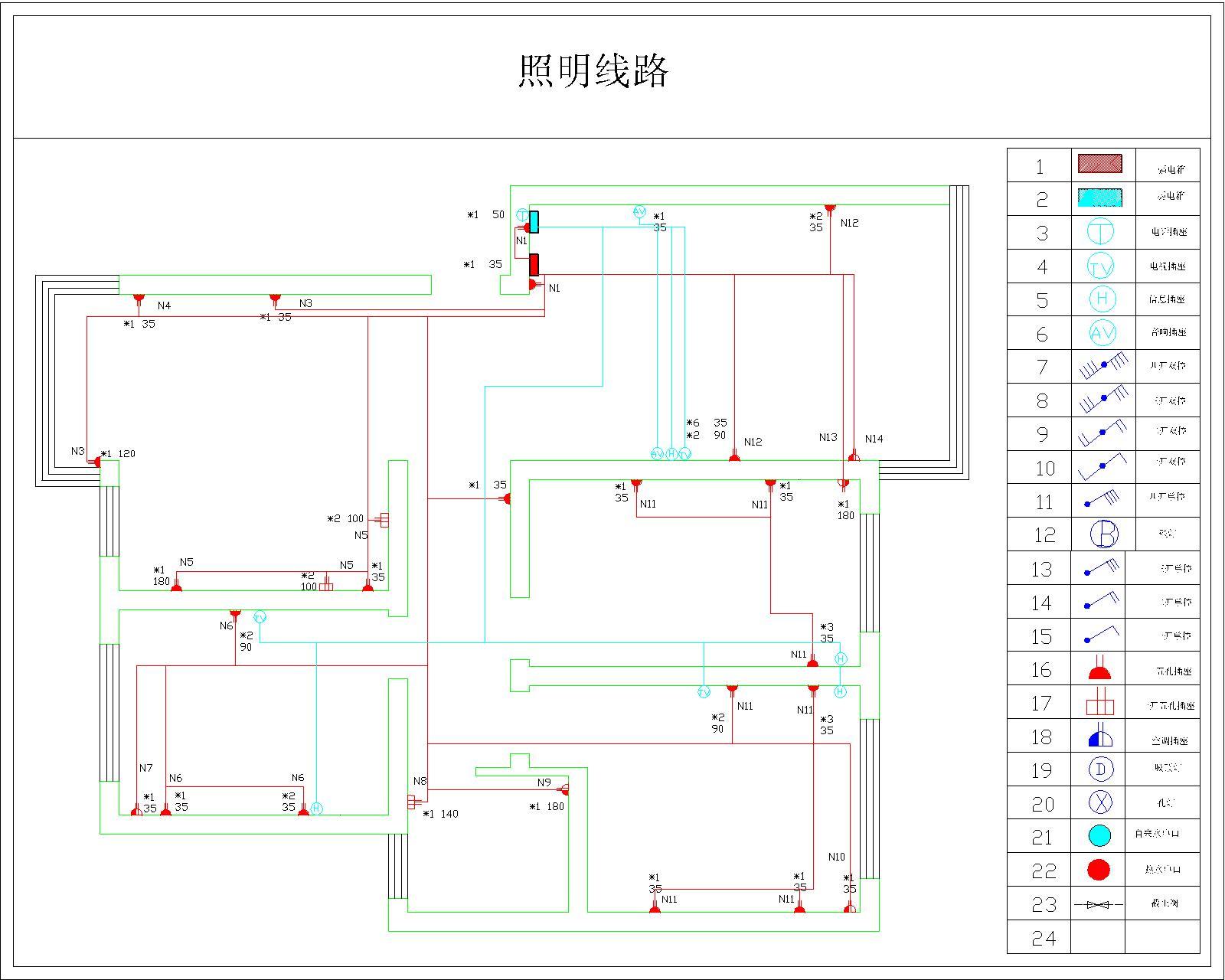 室内水电安装布线图高清图片