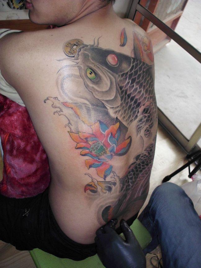 纹身招财鱼图案大全图片