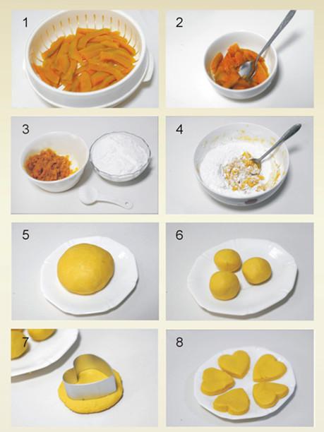 制作过程: 1,将南瓜去皮切片放在蒸锅里蒸熟.