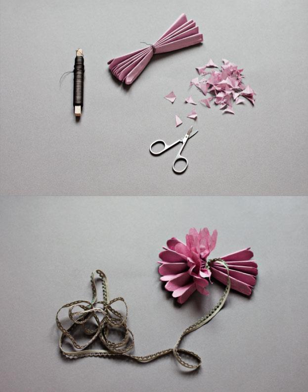 一款精致逼真的牡丹纸花的折法图解