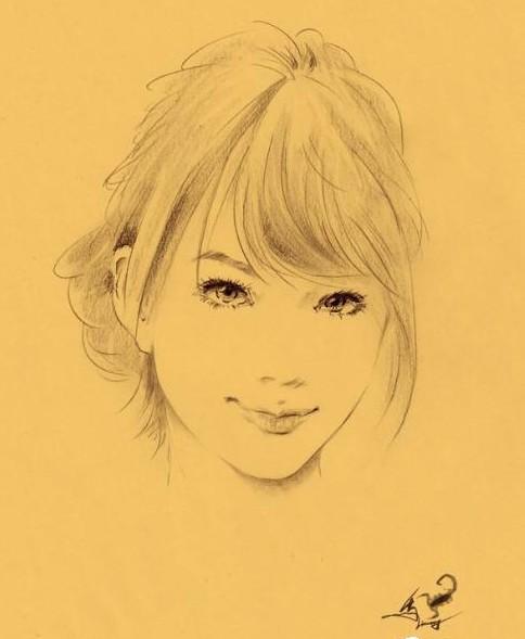 逼真的美女铅笔画作品