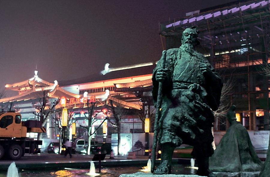 2012西安大雁塔,开元广场夜景