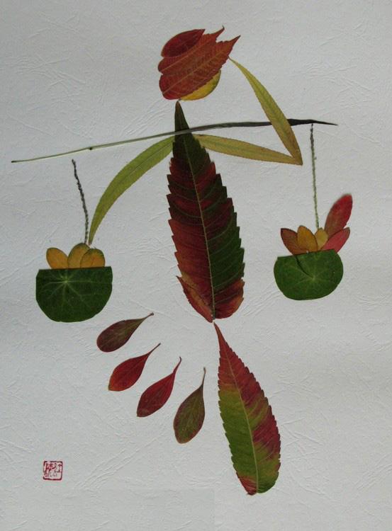 漂亮的树叶拼图.