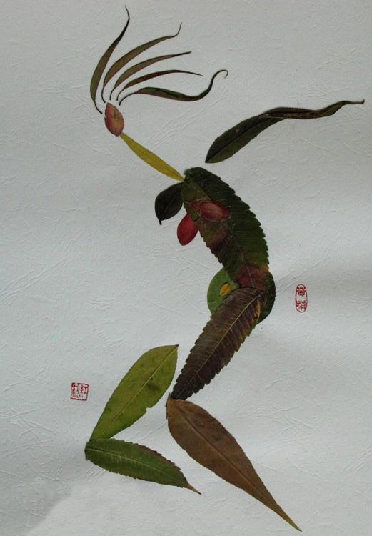 漂亮的树叶拼图-洛克王国木叶七巧板 用树叶拼图案图片
