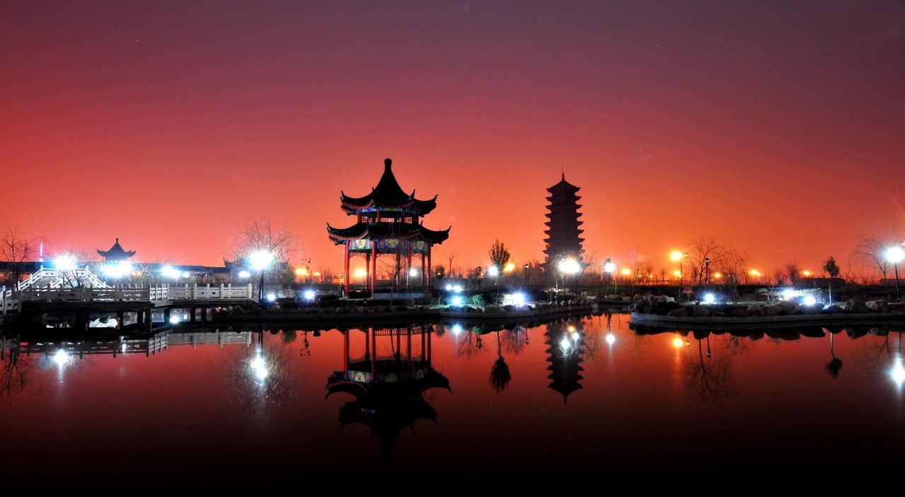 西山公园夜景_河津博客; 我的家乡河津; 山西省主要旅游景点-山西摩友