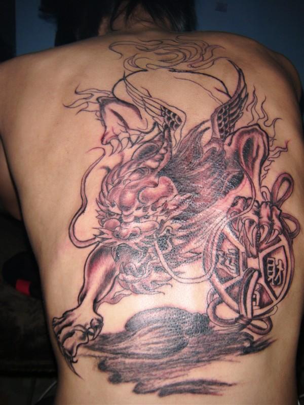 招财满背纹身图案大全男分享展示