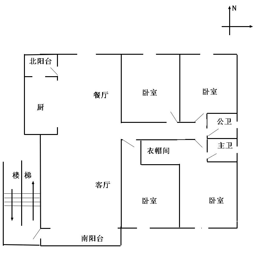 自建房90平米三房一厅设计图展示图片