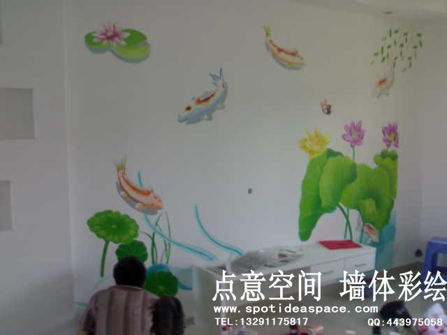 苏州手绘墙,点意手绘电视机背景墙,室内风景壁画
