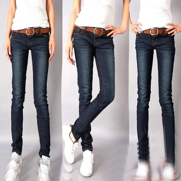 磨白铅笔裤牛仔裤