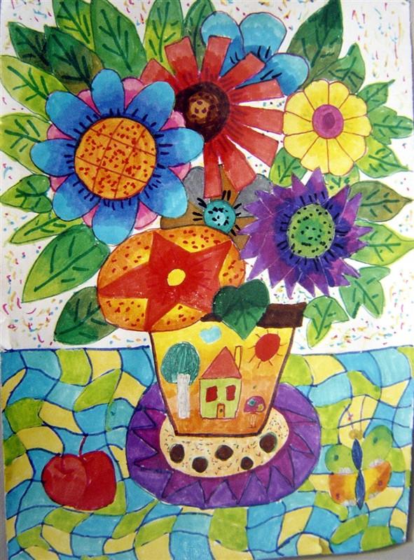 少儿彩色线描装饰画; 创意艺术画; 图片