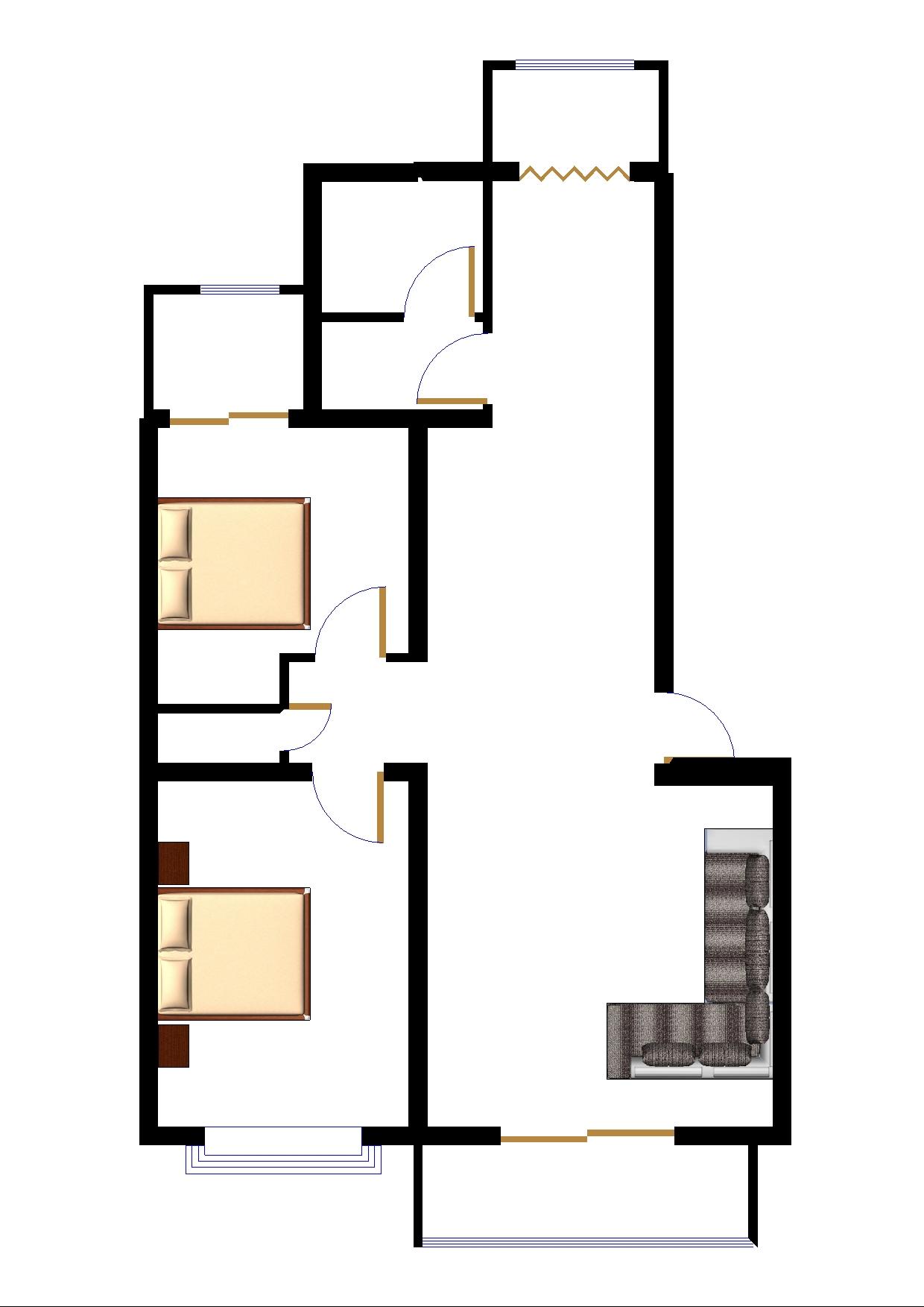 102平方房屋设计图