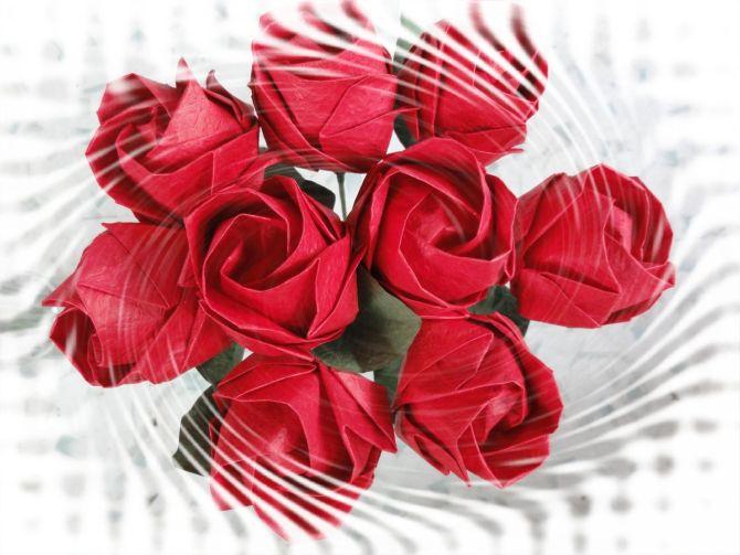 超好看的纸折玫瑰