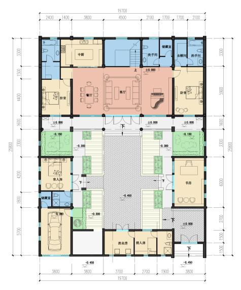 求现代四合院的平面图,还有外观立面图