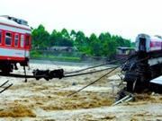 宝成线一列客车2节车厢坠河1300人全部脱险