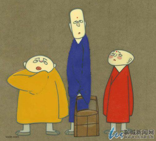 """可爱的""""小和尚,高和尚与胖和尚""""的经典漫画人物形象"""