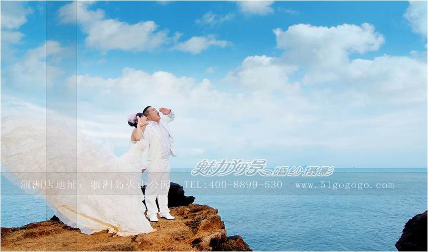 在北海冠头岭拍摄了第一套海景婚纱照,从此开创了北海婚纱摄影之先河.图片
