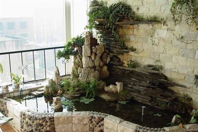 假山盆景,鱼池,屋顶鱼池,小庭园,客厅,文化砖等设计与施工图片