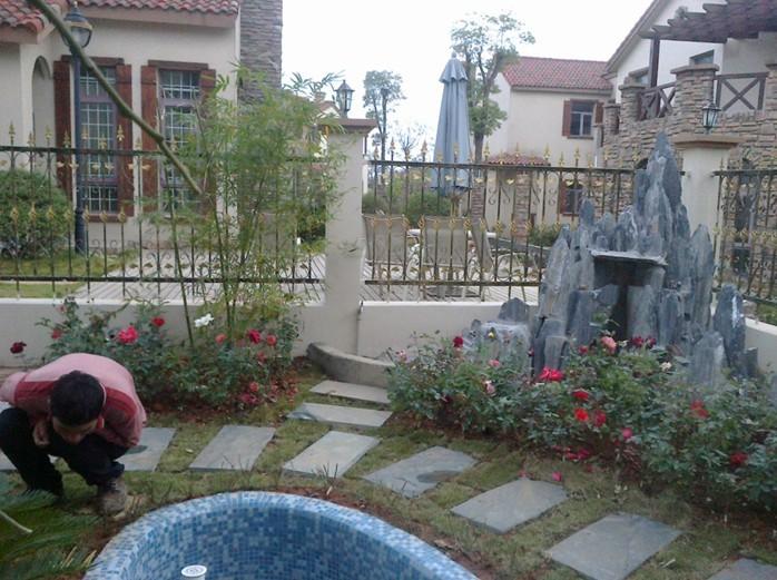 私家花园别墅庭院假山水景制作图片