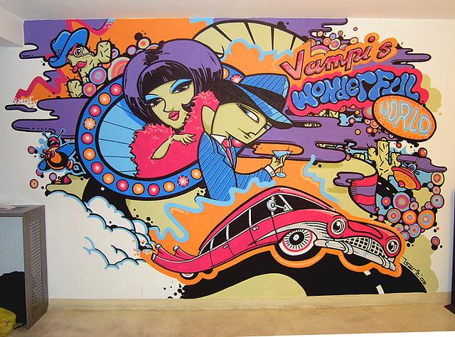 学校,幼儿园 城市围墙 广场主题背景墙 建筑物外墙 卷帘门 汽车 涂鸦