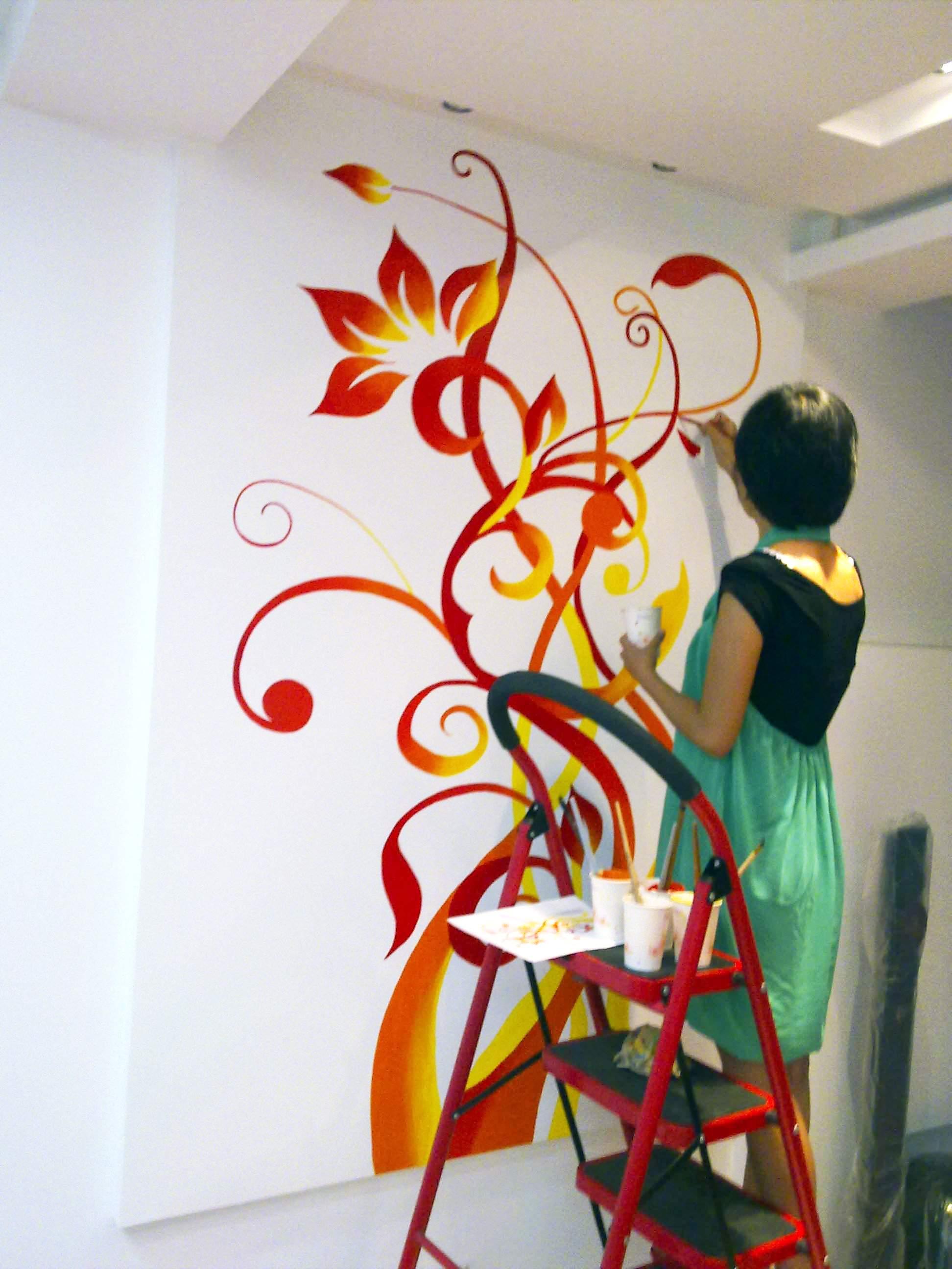 现代时尚家居手绘墙画