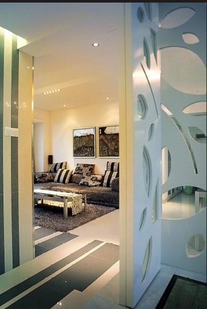 三居室 110.00㎡ 客厅装修效果图 黑白灰冷色现代简约家