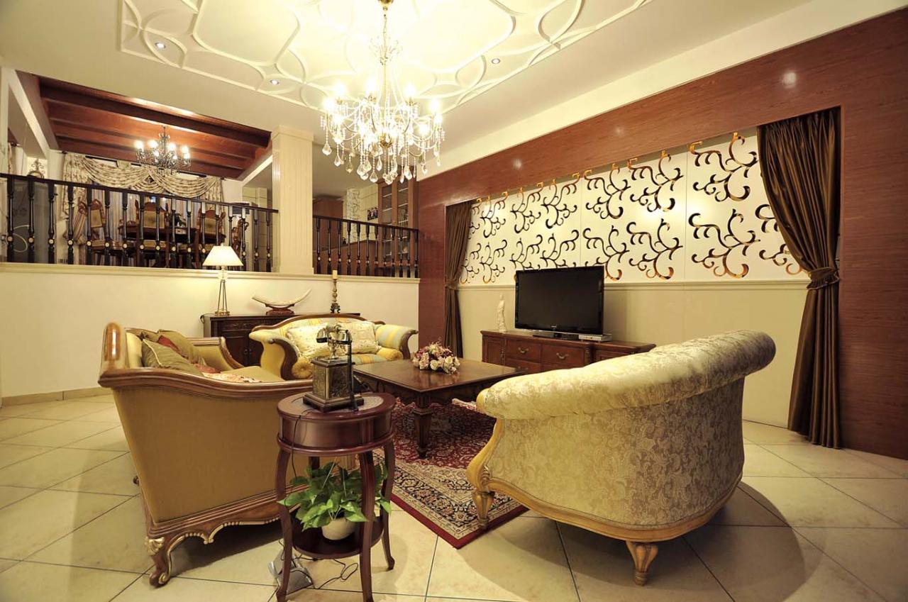 四居室 300㎡ 客厅装修效果图 华丽楼中楼风格室内设计