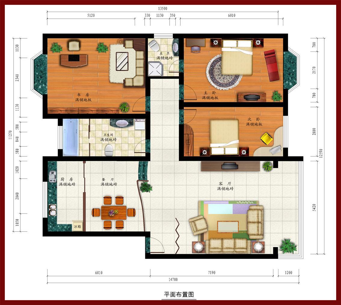 房子ps手绘平面图