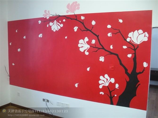 天津大港青莲手绘墙13642130123